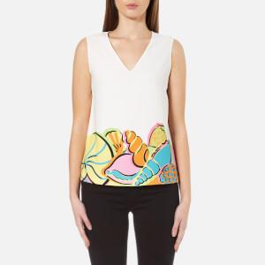 Boutique Moschino Women's Sleeveless V-Neck Printed Blouse - White