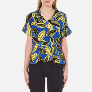 Boutique Moschino Women's V-Neck Printed Blouse with Collar - Multi