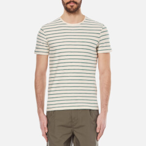Selected Homme Men's Kris Striped Crew Neck T-Shirt - Marshmallow/Sea Pine