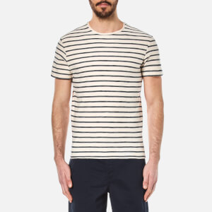 Selected Homme Men's Kris Striped Crew Neck T-Shirt - Marshmallow/Dark Sapphire