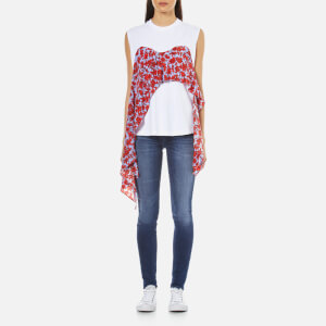 MSGM Women's Rose Printed T-Shirt - White