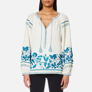 Maison Scotch Women's Boho Cotton Top with Special Embroideries - White