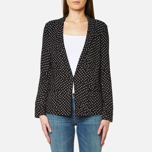 Maison Scotch Women's Basic Printed Drapey Blazer with Contrast Piping - Black