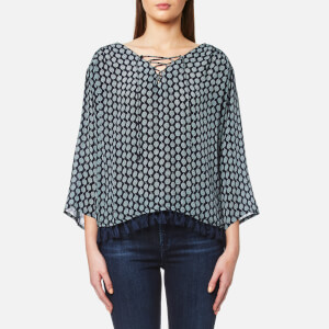 Maison Scotch Women's Viscose Printed Boho Top with Tassel Hem and Lace Up Front - Blue