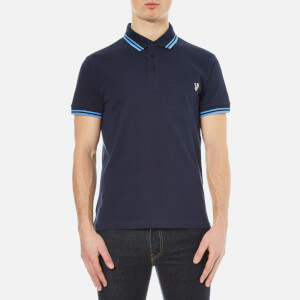 Versace Jeans Men's Small Logo Polo Shirt with Back Print - Blue
