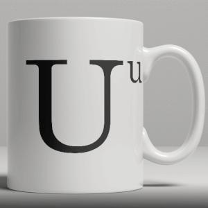 Alphabet Keramik Designer Tasse - Buchstabe U