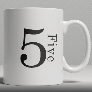 Alphabet Ceramic Mug - Number 5