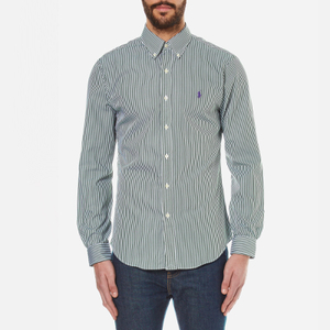 Polo Ralph Lauren Men's Long Sleeved Striped Shirt - Pine Green