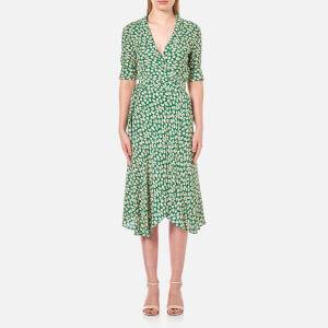 Ganni Women's Dalton Crepe Long Shirt Dress - Green