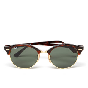 Ray-Ban Clubround Flat Lenses Half Metal Frame Sunglasses - Red Havana