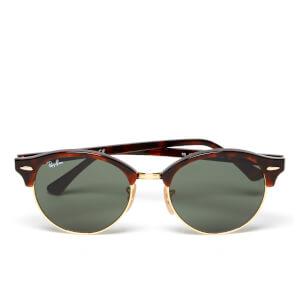 Ray-Ban Clubround Flat Lenses Half Metal Frame Sunglasses - Red Havana