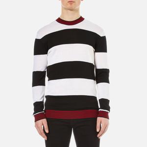 McQ Alexander McQueen Men's Stripe Contrast Crew Neck Jumper - Darkest Black/White