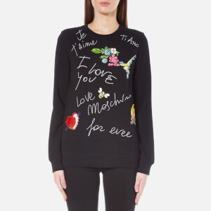 Love Moschino Women's Birds and Flowers Logo Sweatshirt - Black