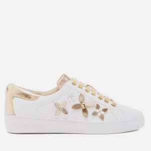 MICHAEL MICHAEL KORS Women's Lola Flower Leather Trainers - Optic White/Pale Gold