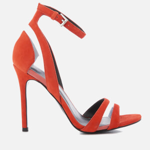 Kendall + Kylie Women's Goldie Suede Heeled Sandals - Bright Coral/Clear