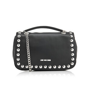 Love Moschino Women's Studs Double Chain Shoulder Bag - Black