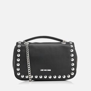 Love Moschino Women's Studs Double Chain Shoulder Bag - Black