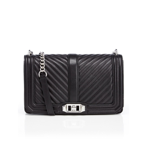 Rebecca Minkoff Women's Chevron Quilted Love Cross Body Bag - Black