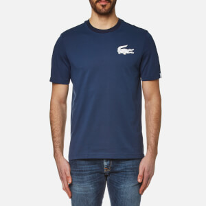 Lacoste L!ve Men's Large Logo Crew Neck T-Shirt - Ship/White/Navy Blue