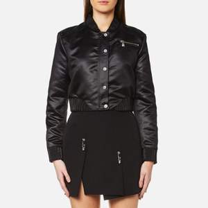 Versus Versace Women's Cropped Logo Back Bomber - Black