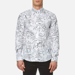KENZO Men's Cotton All Over Print Long Sleeve Shirt - White