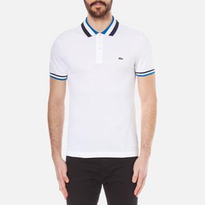 Lacoste Men's Collar Detail Polo Shirt - White/Sapphire Blue