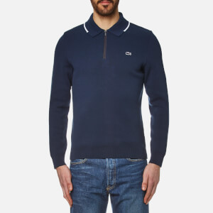 Lacoste Men's Zip Detail Sweater - Ship/White