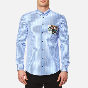 MSGM Men's Stripe Pocket Detail Shirt - Blue