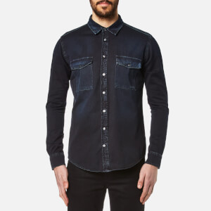 MSGM Men's Back Logo Long Sleeve Shirt - Black