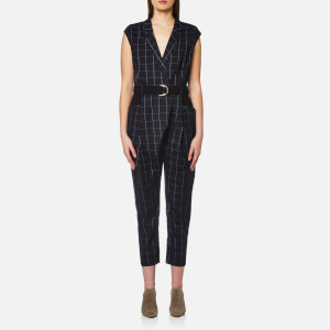 Paisie Women's Check Jumpsuit - Navy