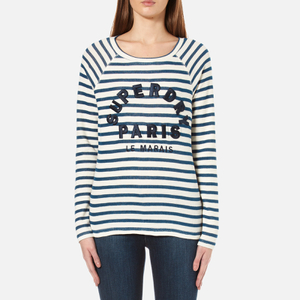 Superdry Women's Applique Raglan Long Sleeve T-Shirt - Off White/Blue Stripe