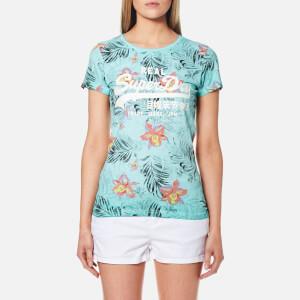 Superdry Women's Vintage Logo Hibiscus Overdyed T-Shirt - Overdyed Aquamarine