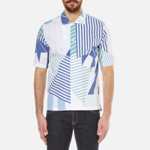 Maison Kitsuné Men's All Over Patched Striped Short Sleeve Shirt - Navy Print
