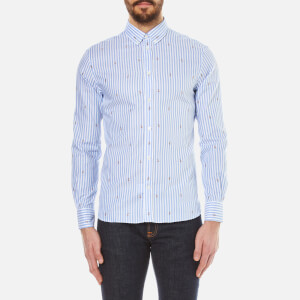 Maison Kitsuné Men's Classic Jacquard Fox Long Sleeve Shirt - Light Blue Stripe