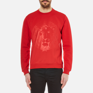 Versus Versace Men's Embossed Lion Scuba Crew Neck Jumper - Fire