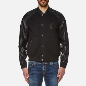 Versace Collection Men's Leather Detail Blouson Jacket - Nero