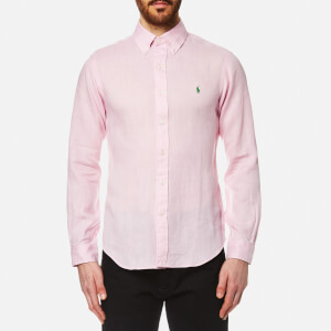 Polo Ralph Lauren Men's Linen Long Sleeve Slim Fit Shirt - Pink