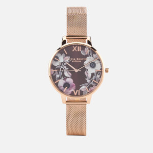 Olivia Burton Women's Poppy Flower Rose Gold Mesh Watch - Rose Gold