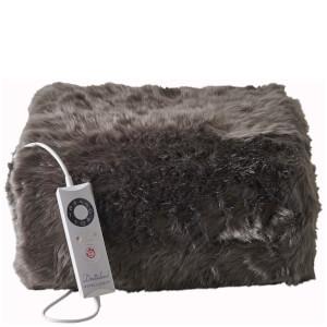 Dreamland Relaxwell 16339 Intelliheat Luxury Heated Faux Fur Throw - Slate Grey