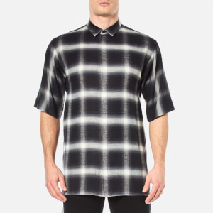 Helmut Lang Men's Drawcord Short Sleeve Shirt - Plaid
