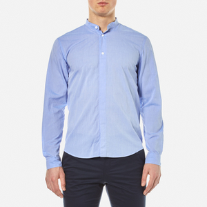 Folk Men's Collarless Shirt - Fresh Blue