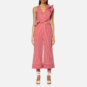 MSGM Women's Stripe Wide Leg Frill Jumpsuit - Red