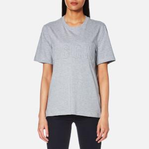 MSGM Women's Indented Logo Oversized T-Shirt - Grey