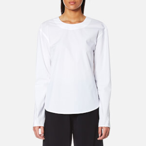 DKNY Women's Extra Long Sleeve Shirt with Open Back and Tie Closure - White
