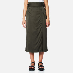DKNY Women's Wrap Skirt with Side Buttons and Self Belt - Military