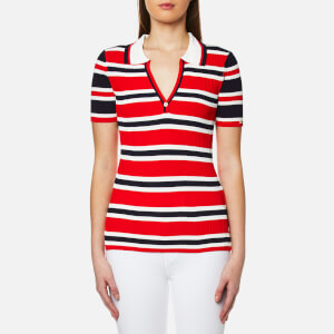 Tommy Hilfiger Women's Erin Stripe Polo Shirt - Fiery Red/Peacoat/Snow White
