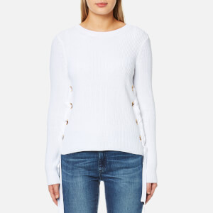 MICHAEL MICHAEL KORS Women's Side Lace Up Side Crew Neck Jumper - White