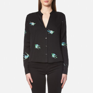 Diane von Furstenberg Women's Long Sleeve V Neck Shirt - Ceres Black