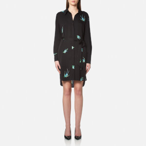 Diane von Furstenberg Women's Long Sleeve Shirt Dress - Ceres Black
