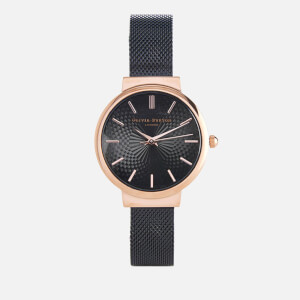 Olivia Burton Women's Hackney Black Mesh Watch - Rose Gold